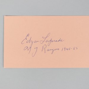 New York Rangers- Edgar Laprade Signed & Inscribed 3x5 Index Cards- COA JSA