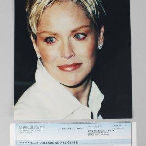 Basic Instinct - Sharon Stone Signed Check & 8x10 Photo (Unsigned) -COA JSA