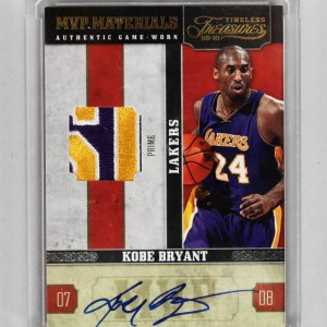 2009-10 Timeless Treasures Kobe Bryant Lakers Signed, Game-Used Prime Patch Card 4/10
