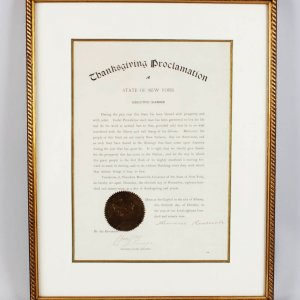 9 3/4 x 13 x1/2 Signed Theodore Roosevelt Thanksgiving Proclamation State Of New York 1896