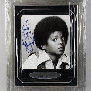 "Michael Jackson Signed, Inscribed ""I Love You"" 17x22 Photo Display -JSA Full LOA"