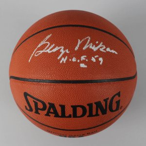 """Minneapolis Lakers - George Mikan Signed & Inscribed """"H.O.F. 59"""" Official Basketball - COA PSA/DNA"""