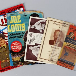 Boxing Legend Joe Louis Lot - (2) Magazines, Post Card, Memorial Service Program & 1936 Biggest Match Book