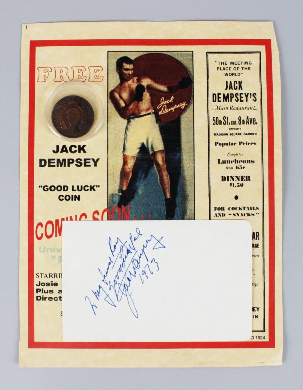 Boxing - Jack Dempsey Signed & Inscribed 4x6 Vintage Album Cut - COA JSA