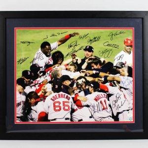 2004 Boston Red Sox World Series Signed Photo Display (w/17 Sigs.) - JSA Full LOA