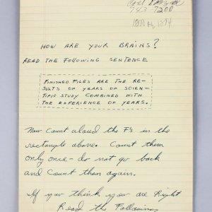 Muhammad Ali Handwritten Notes Checking His Mental State (1960's) Provenance Khalilah Ali