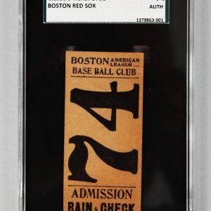 1900-1903 Boston Baseball Club (Red Sox) Ticket Stub SCG Authenticated