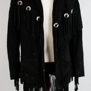 Musician Songwriter Rainbow,Dio. Jimmy Bain's Black Suede Fringed Jacket- Provenance LOA