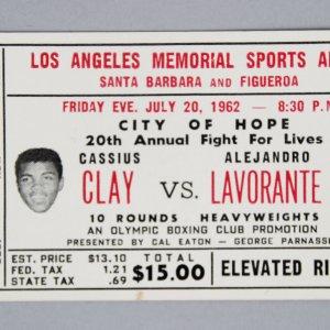 1962 Cassius Clay / Alejandro Lavorante Ticket Stub