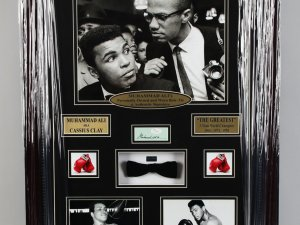 Muhammad Ali Signed Cut, Worn/Owned Bow Tie 23.25 x 31.25 Display - JSA Full LOA & Provenance Letter