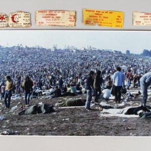 1969 Woodstock Original Panaromic Photograph & Original Tickets