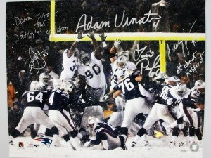 "2001 AFC Divisional Playoff Game - New England Patriots ""Tuck Rule Game"" Signed & Inscribed 16x20 Photo Display Adam Vinatieri, Damien Woody, Lonie Paxton, Jermaine Wiggins & Antwan Harris 1/7"