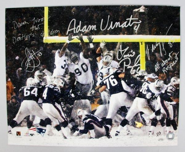 "2001 AFC Divisional Playoff Game - New England Patriots ""Tuck Rule Game"" Signed & Inscribed 16x20 Photo Display Adam Vinatieri, Damien Woody, Lonie Paxton, Jermaine Wiggins & Antwan Harris 1/7"