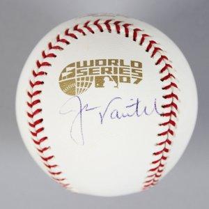 Red Sox - Jason Varitek Signed 2007 World Series Baseball - COA Steiner