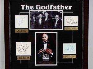 """The Godfather"" Signed Cast Album Page Display Poster COA JSA Brando"
