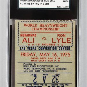 1975 – Muhammad Ali vs. Ron Lyle Boxing Ticket STUB (SGC A Auth)