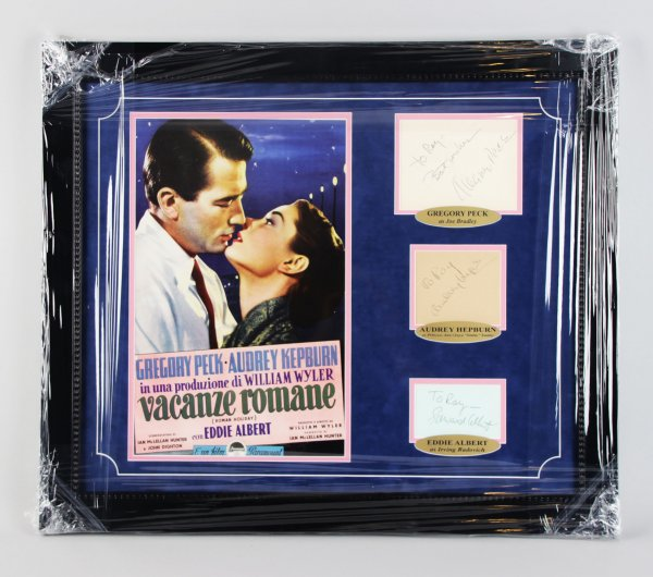 Roman Holiday – Gregory Peck, Audrey Hepburn, Eddie Albert Signed Cut 23×27 Display – JSA Full LOA
