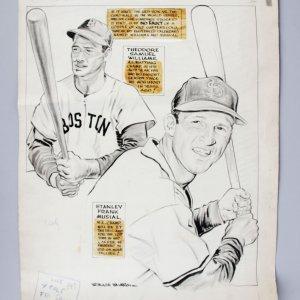 1946 WS Red Sox vs. Cardinals Willard Mullin Original Sporting News Art