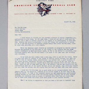 August 18, 1954 White Sox Manager Frank Lane Signed Letter to Ted Williams - Provenance LOA