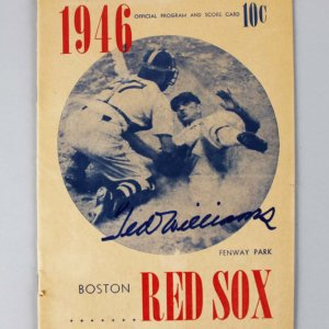1946 Red Sox Ted Williams Signed Official Program & Score Card - COA