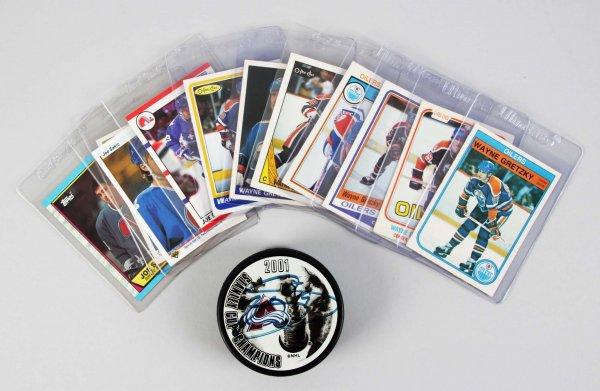 Hockey Lot Feat. Vintage Edmonton Oilers Wayne Gretzky O-Pee-Chee Cards & Joe Sakic Signed Puck