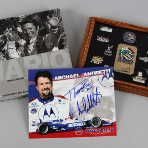 Mario Andretti Signed Collection Book, Pins etc.