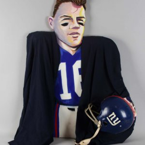 NY Giants - Frank Gifford Signed 3D Caricature with Helmet by SAX - JSA