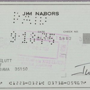 Jim Nabors Gomer Pyle Signed Check To His Sister from Bank of America Hollywood Main Office dated Sep 5, 1975
