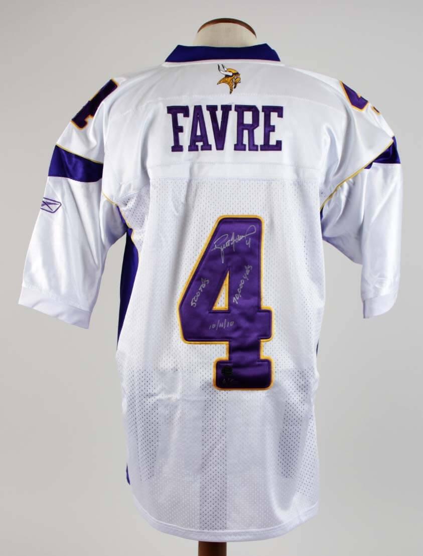 Brett Favre Signed Minnesota Vikings Jersey w/Inscriptions - Favre Hologram & Photo