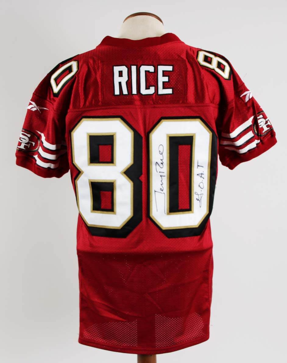1997-98 Jerry Rice Game-Worn, Signed 49ers Jersey From Larry Kirksey Graded 17/20 -COA 100% Authentic Team