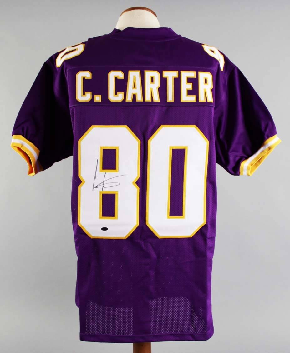 Cris Carter Signed Minnesota Vikings Jersey - COA Leaf