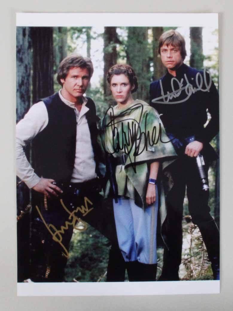 Star Wars Signed Photo Harrison Ford Carrie Fisher Mark Hamill Return Of The Jedi Coa Psa Dna Memorabilia Expert