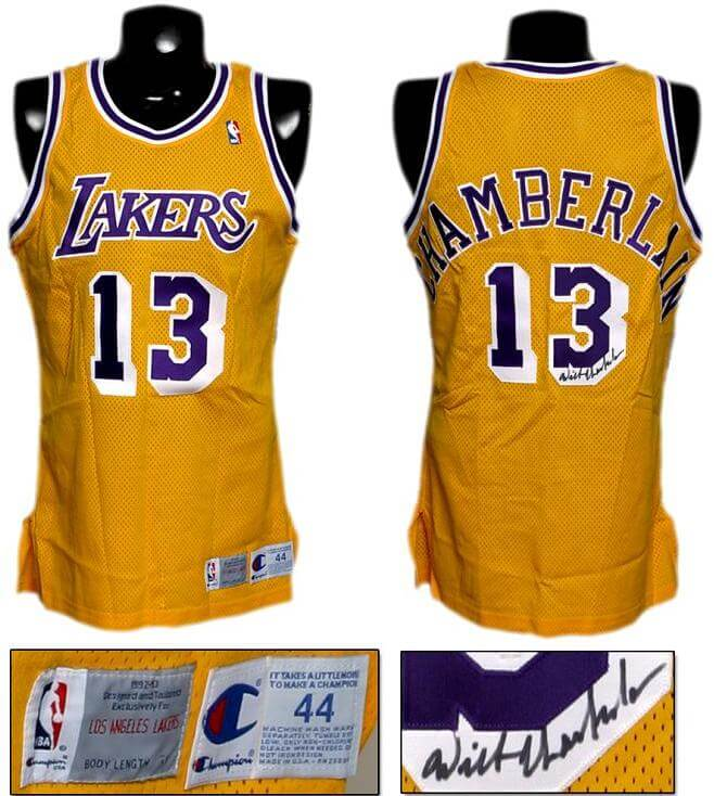 Wilt Chamberlain Signed Lakers Authentic Jersey