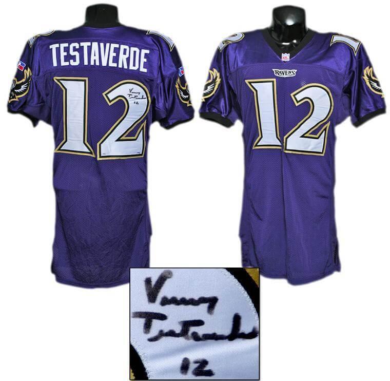 1996 Vinny Testaverde Game-Worn, Signed Ravens Jersey