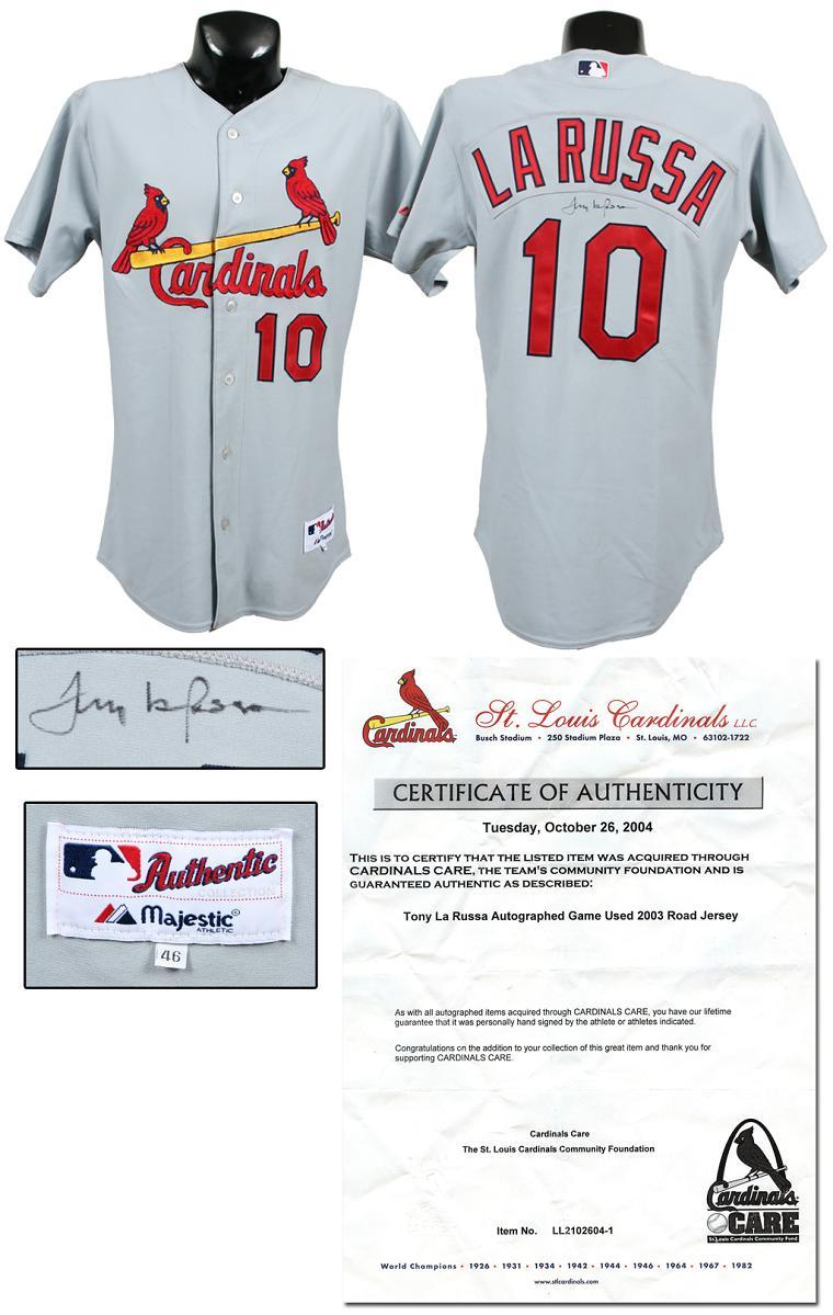 2003 Tony Larussa Game Used Signed Cardinals Road Jersey W Team Letter Memorabilia Expert