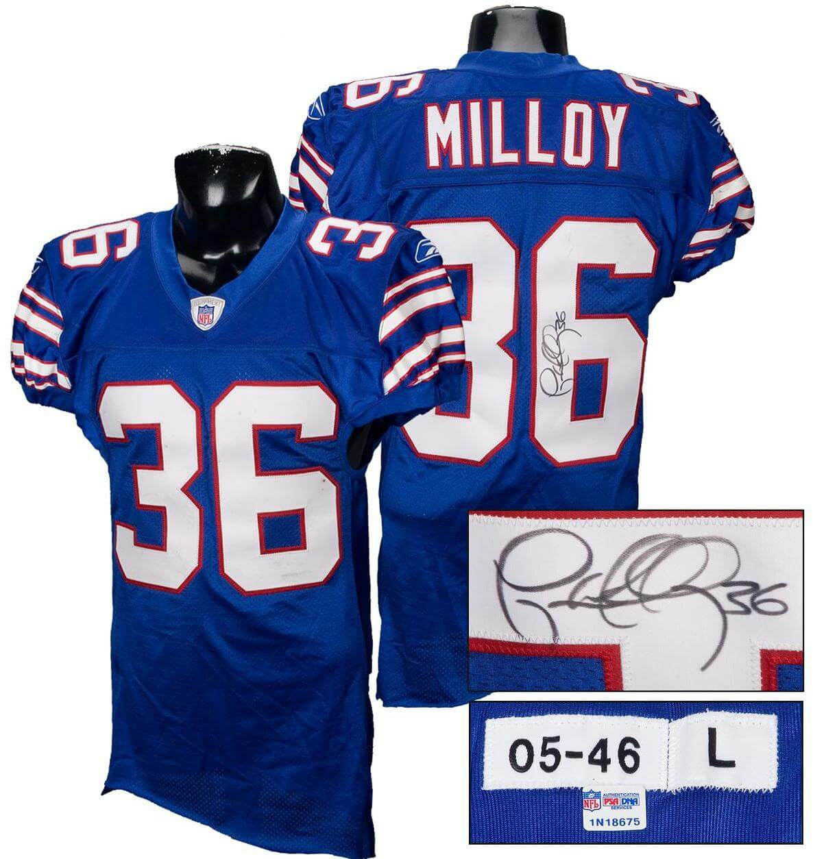 Lawyer Milloy Game-Used Signed Bills Jersey w/NFL Auction Certificate